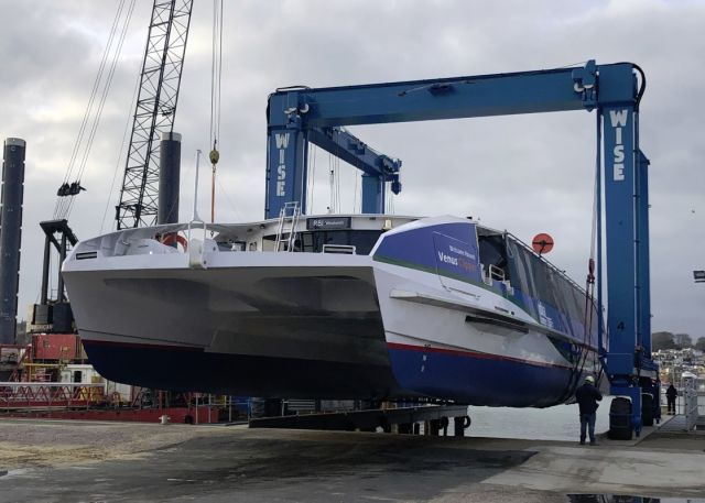 MBNA Thames Clippers' Venus Clipper has been lowered into the water for the first time at Wight Shipyard Co in East Cowes, UK.